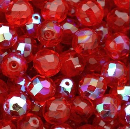 Cristal Vermelho Irizado 8mm - 100 Unidades - Guia Umbanda