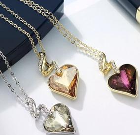 (promoção) Presente Namorada Colar Pingente Cristal Amor