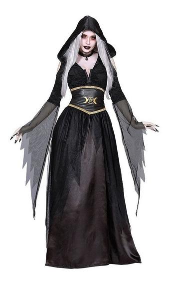 Disfraz Bruja Wicca Largo Negro Café Halloween