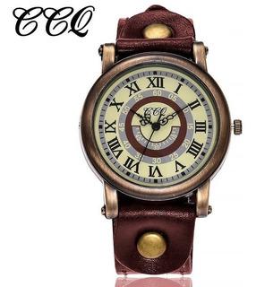 Relógio Quartzo Vintage Ccq Roma Pulseira Couro Frete 10,00