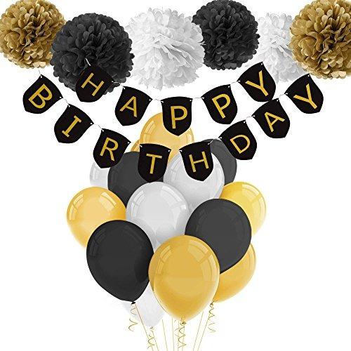 Decoraciones De Cumpleaños En Negro Y Dorado Con Pancarta D
