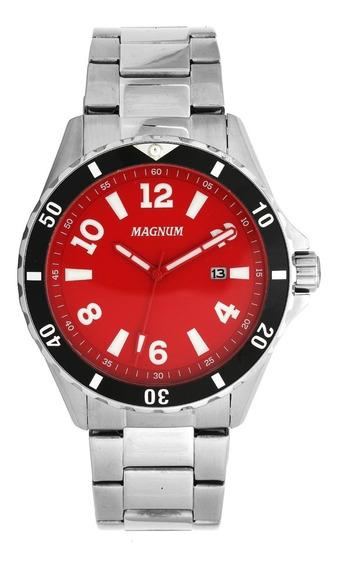 Relógio Magnum Masculino Aço Prata Social Wr 10 Atm Ma35002v
