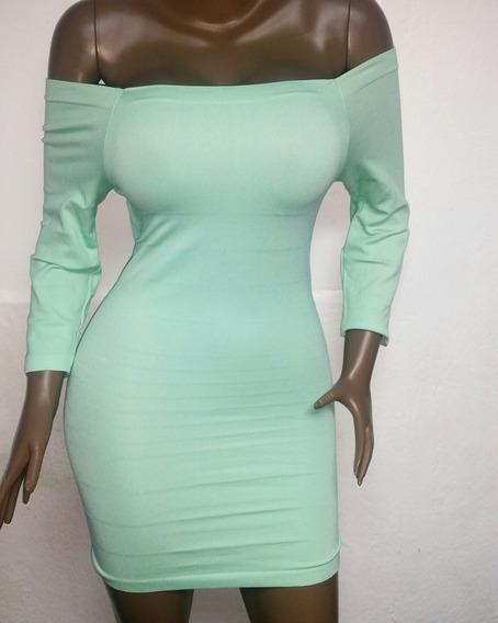Vestido Para Dama Corto Pegado Unicolor