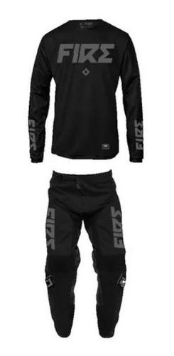 Imagen 1 de 10 de Equipo Conjunto Negro Atv Moto Motocross Enduro Mx Fire Juri