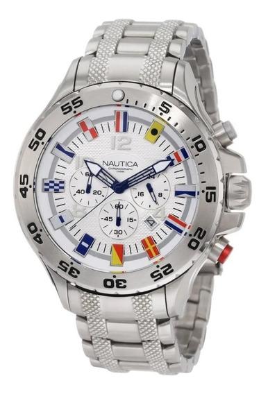 Relógio Mk090 Branco Aço Nautica Linha Chronograph N20503g