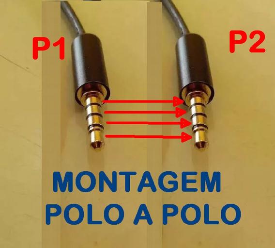 Cabo Ligação Headset Gamer P1 P2 4 Vias /polos 3 Metros