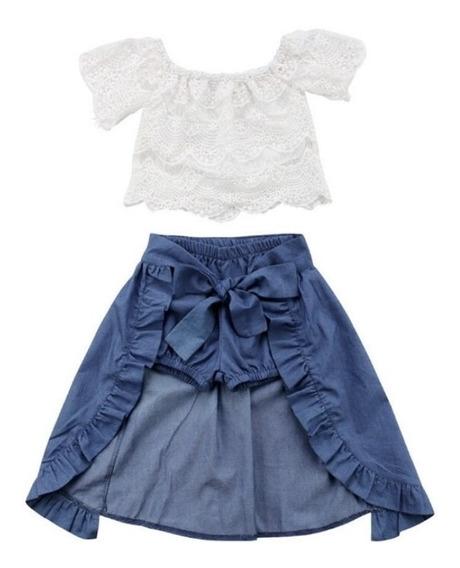 Roupas Infantil Menina Cropped Branco Saia Jeans Estiloso