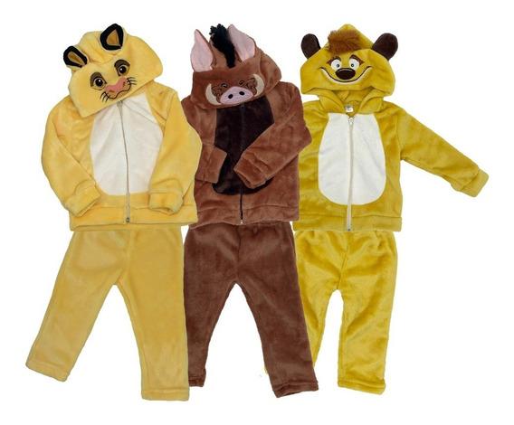 Kit 3 Conjuntos Disney Simba, Timon Y Pumba Con Gorro