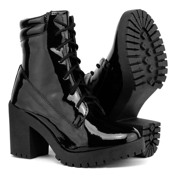 Bota Feminina Tratorada Ankle Boot Marron Preto Inverno Dhl