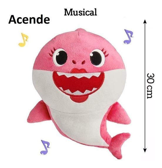 C/ Bateria/musical/ Led/ 1 Pelúcia Bebê Tubarão Baby Shark