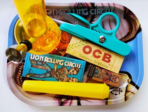 Bong Bandeja Lion Rolling Circus Pipa De Agua Kit Tijera Ocb