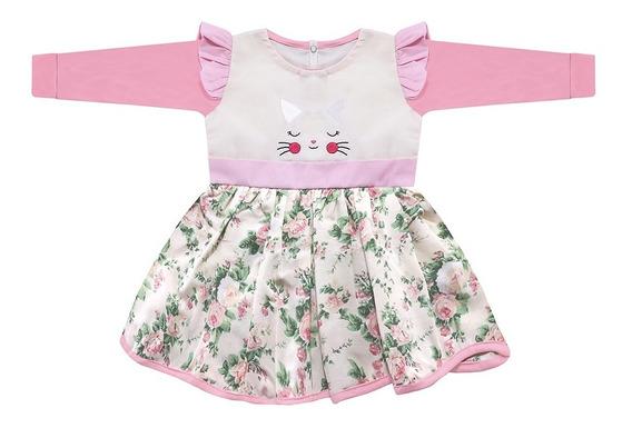 Vestido Para Bebê Menina Gatinha Manga Longa Inverno