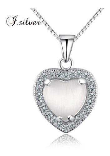 Colar Coração Pedra Branca Prata Pura925 Zirconia Barato