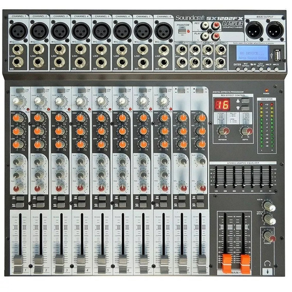 Mesa Soundcraft Sx1202 Fx Com Usb Player Eq Gráfico