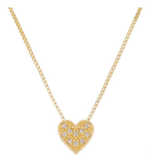 Colar E Pingente Corrente Coração Folheado Ouro 18k Cristal