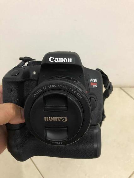 Câmera Cânon T6i Com Lente 50mm , Lente 18/55mm, Suporte