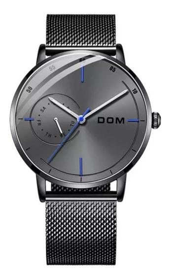 Relógio Masculino Quartzo Pulseira E Caixa Aço Inoxidável