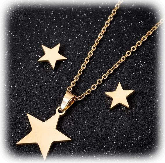 Set: Collar + Aretes Estrella Star Acero Inoxidable Calidad