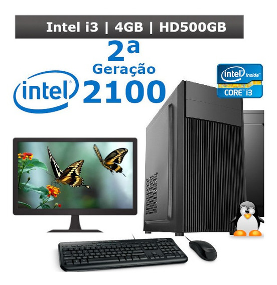 Desktop I3 2100 4gb Hd 500gb + Kit + Monitor 19 2ª Geração