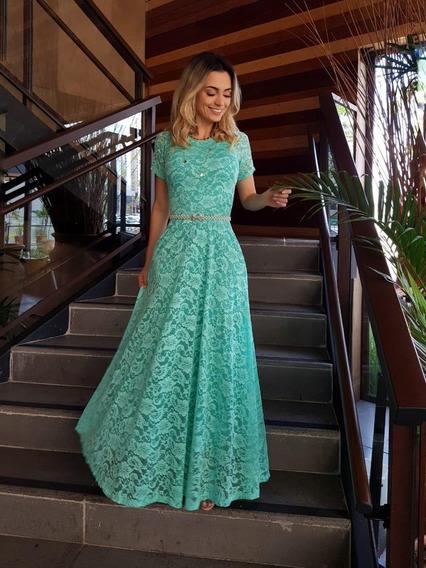 Vestido Longo Com Bojo Em Renda Para Festas E Casamento