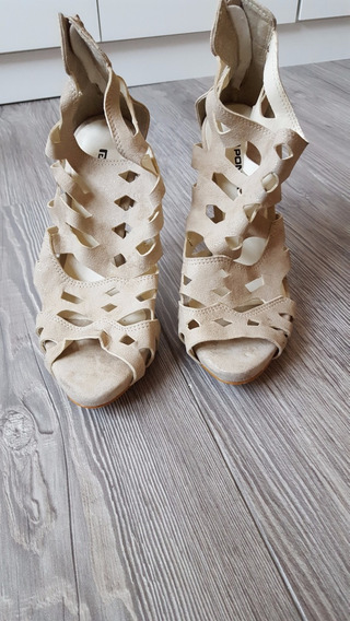 Sapato Pontal Bege Ankle Boot Tamanho 35 Pouco Uso
