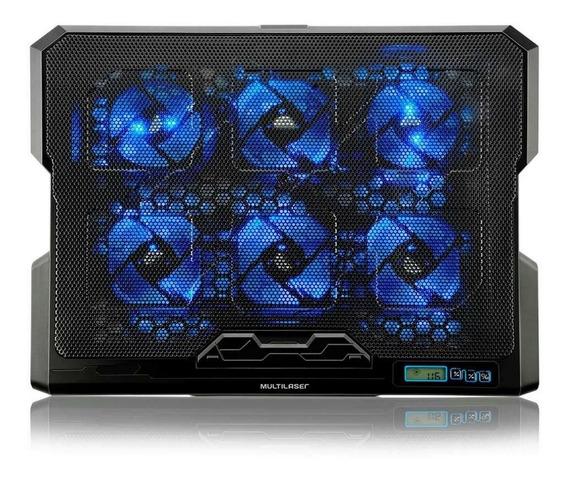 Suporte Para Notebook Com 6 Coolers Em Led Azul Multilaser