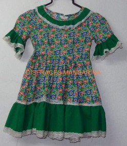 Vestido De Huasa China Talla 4 Tonos Verdes