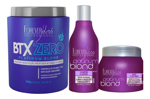 Forever Liss Kit Cabelos Loiros  Blond + Btx Zero Formol 950