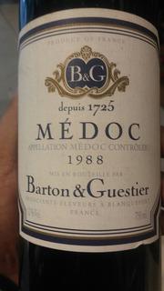 Vino Francés Barton Guestier Medoc 1988