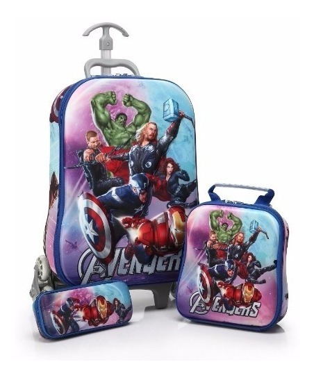 Kit Mochila Infantil Avengers + Lancheira + Estojo 3d