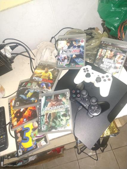 Ps3 Playstation3 Desbloqueado E Com 160gb 2 Controles