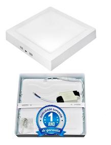Kit 5 Painel Plafon 18w Led Quadrado Sobrepor Branco Quente