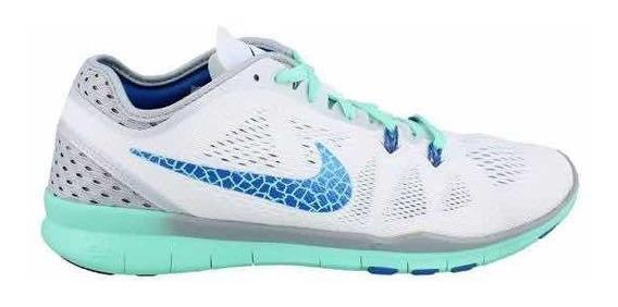 Tenis Para Dama Free 5.0 Tr Fit 5 Blanco Con Verde Y Azul