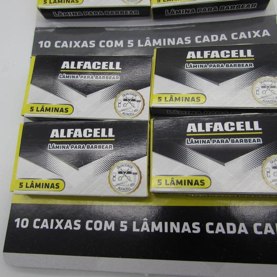 Cartela Com 10 Pt Lâmina Para Barbear Alfacell Aço Inox