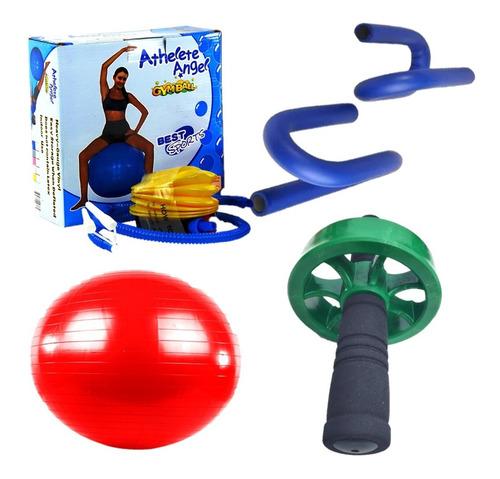 Kit Rueda Abdominal+soporte De Flexiones+balon Pilates 55 Cm