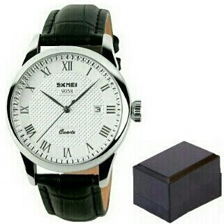 Relógio Skmei 9058 Masculino Luxo B Prat Pret Pulseira Couro
