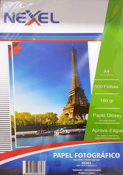 Kit 500 Papel Fotográfico A4 Glossy Super Brilho Prova Aguá