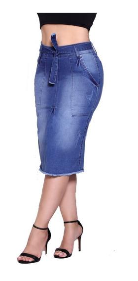 Saia Midi Secretaria Jeans Lycra Original Set For