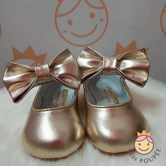 Sapato Infantil Feminino Amoreco Dourado Festa 23001