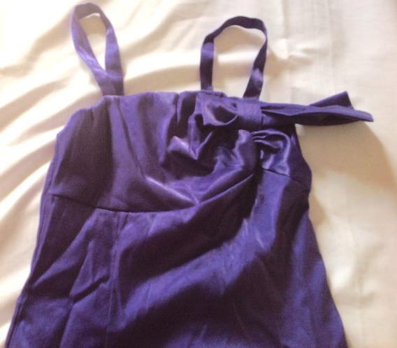 Vestido De Raso Violeta Talle Xs