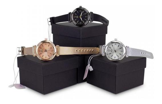 Kit 3 Relógio Feminino Dourado Prata E Preto