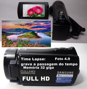 Filmadora Samsung Hmx-h305bn Full Hd Grava A Passagem Tempo