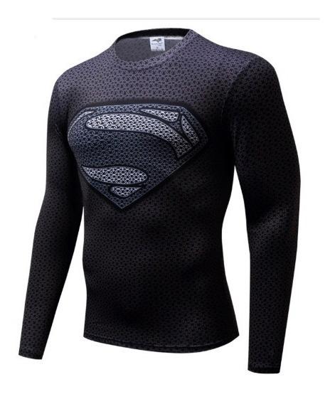 Camisa 3d Superman Compressão Manga Longa