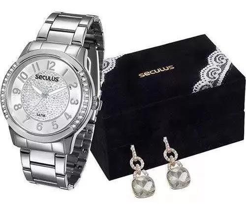Relógio Seculus Feminino 20257l0svns2k1 + Par De Brincos
