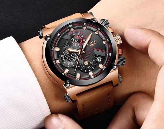 Relógio Masculino De Couro Luxuoso Lige