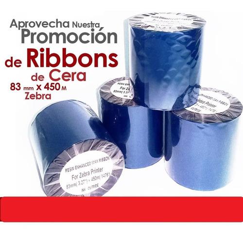 Ribbon Cera (wax) 3,27 Zebra 83mm X 450mts