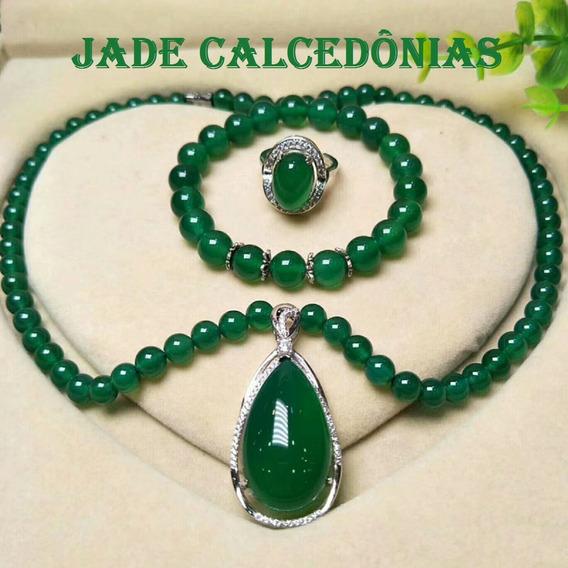 Conjunto Jade Calcedônias Verdes Metal Prata Esterlina S925