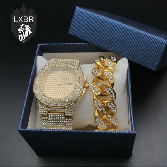 Kit Relogio + Pulseira 20cm Largura 15mm Dourado Cravejado Zirconia Hip Hop Funk Ostentação Colar Corrente Ice Out Lxbr
