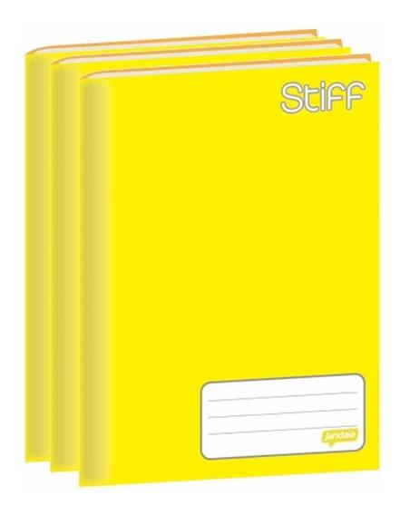 Caderno Brochura 1/4 Jandaia Stiff 96 Folhas Amarelo 5 Un