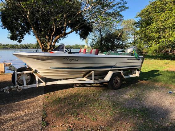 Excelente Conjunto (barco+motor 90hp 4t +carreta) Para Pesca